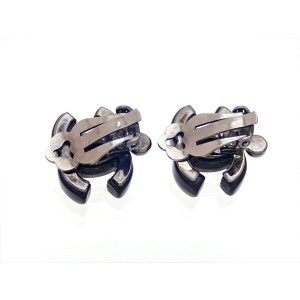 Vintage Chanel Earrings Ripple Black CC Logo Rhinestones