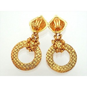 Vintage Chanel Earrings Gold CC Logo Dangle Thick Hoop