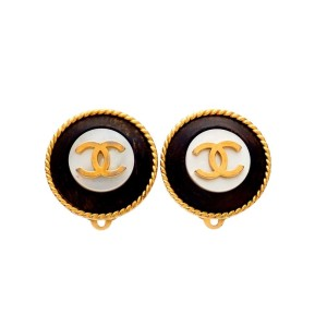 Vintage Chanel Earrings Gold CC Round Black Wood White