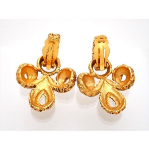 Vintage Chanel Earrings Gold CC Two Way Dangle Decorative