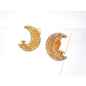 Vintage Chanel Earrings CC On Gold Moon Stones