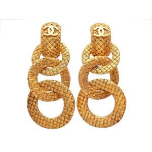 Vintage Chanel Earrings Gold Two Way Triple Mesh Hoop Dangle