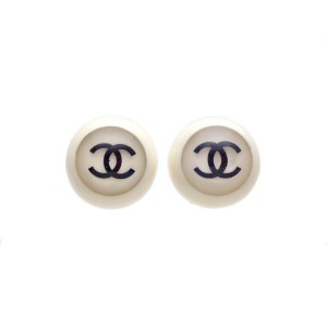 Vintage Chanel Earrings Plastic White Round Black CC