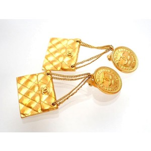 Vintage Chanel Earrings Gold CC Medal Quilted Bag Dangle