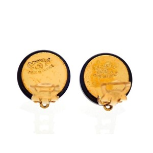 Vintage Chanel Earrings Gold CC Black Round CC