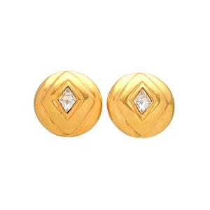 Vintage Chanel Earrings Round Rhombus Rhinestone