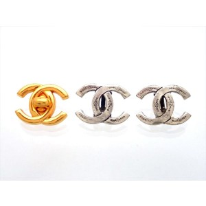 Vintage Chanel Earrings Silver CC Logo Double C Engraved