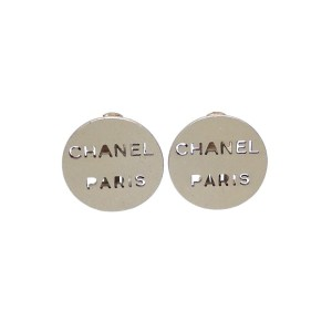 Vintage Chanel Earrings Silver Round Punched Logo