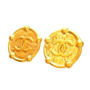 Vintage Chanel Earrings Gold Medal CC Logo