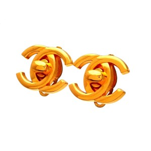 Vintage Chanel Earrings Turnlock CC Logo Double C