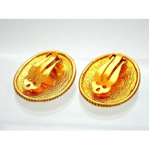 Vintage Chanel Earrings Gold Angel Medal