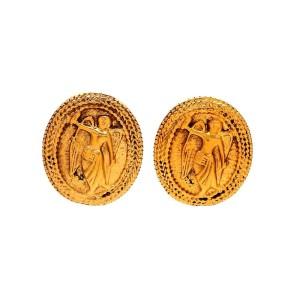Vintage Chanel Earrings Gold Angel Medal