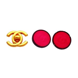 Vintage Chanel Earrings Red Leather Round Black Frame Fuzzy CC Logo