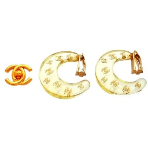 Vintage Chanel Earrings Clear Plastic Hoop Many Gold CC Logo