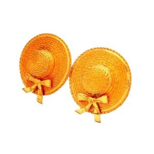 Vintage Chanel Earrings Ribbon Straw Hat