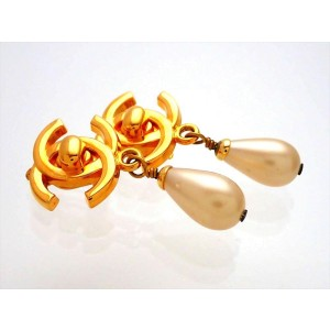 Vintage Chanel Earrings CC Simulated Glass Pearl