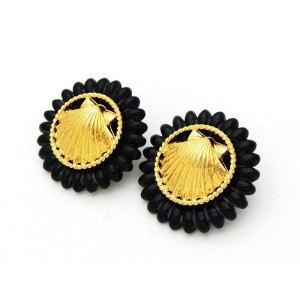 Chanel CC Logo Gold Tone Metal Shell Black Round Earrings