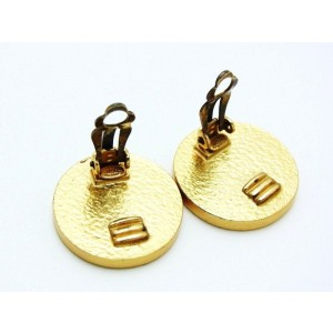 Chanel CC Logo Gold Tone Metal Black Round Earring