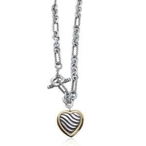 David Yurman Sterling Silver 18k Yellow Gold Figaro Chain Heart Toggle Necklace