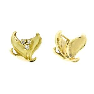 18k Yellow Citra Diamond Leaf Earrings