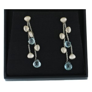 Marco Bicego Paradise Aquamarine 18K Bead Double Drop Earrings