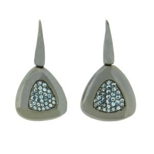 Roberto Coin Blue Topaz Capri Plus Sterling Silver Ruthenium Plated Earrings