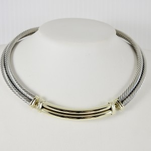 David Yurman Sterling Silver 14K Yellow Gold 2-Row Cable Metro Necklace