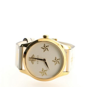 Gucci G-Timeless Bee Star Quartz Watch Stainless Steel and Leather 38
