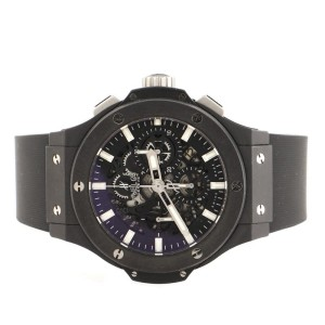 Hublot Big Bang Aero Bang Black Magic Chronograph Automatic Watch Ceramic and Rubber 44