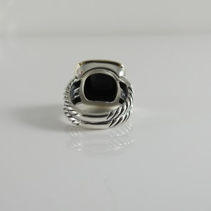David Yurman Sterling Silver and 18K Yellow Gold Black Onyx Albion Ring Size 5