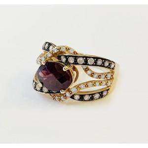 LeVian 14k Rose Gold Garnet Ring with Diamonds