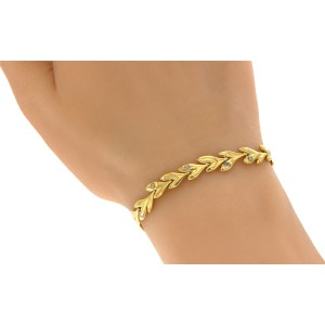 H. Stern 18K Yellow Gold with Rose Cut Diamonds Leaf Bracelet