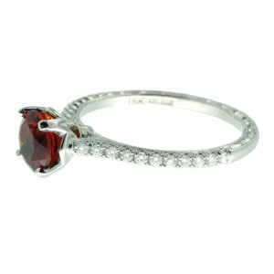 Jack Kelege 18K White Gold Citrine .18ctw Diamond Ring Size 6.75