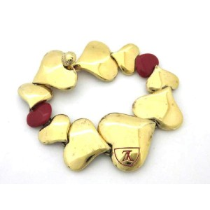 Louis Vuitton Gold Tone Hardware Heart Bracelet