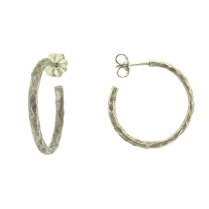 Tiffany & Co. Paloma Picasso Sterling Silver Hammered Hoop Earrings