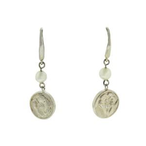 Tiffany & Co. Silver Nature Rose Pearl Dangling Dangle Earrings