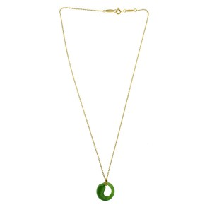 Tiffany & Co. 18k Yellow Gold Infinity Jade Necklace