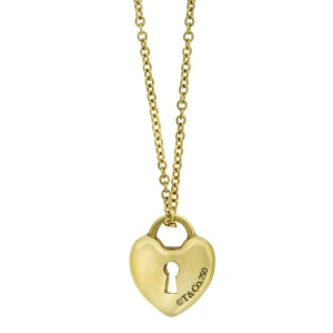Tiffany & Co. 18k Yellow Gold Small Lock Pendant Necklace