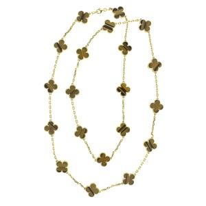 Van Cleef & Arpels 18k Yellow Gold Tiger's Eye Alhambra Necklace