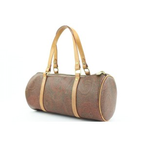 Etro Bordeaux Paisley Boston Bag Barrel Cylinder 25et114