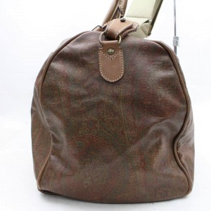 Etro Duffle Paisley Bandouliere Boston with Strap 866315 Brown Canvas Weekend/Travel Bag