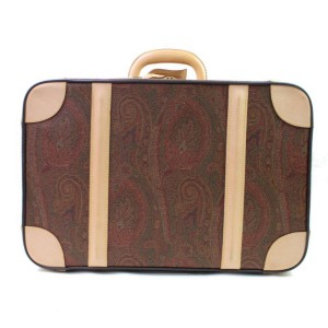 Etro Steamer Paisley Trunk Suitcase 866601 Brown Coated Canvas Weekend/Travel Bag