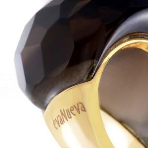 evaNueva 18K Yellow Gold Smoky Quartz Cocktail Ring