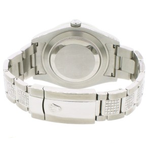 Rolex Datejust II 41mm Steel White Dial Watch 5.6CT Diamond Box Papers