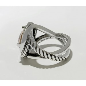 David Yurman Sterling Silver Morganite Infinity Ring