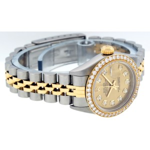 Rolex Datejust 79173 Champagne Diamond Womens 26mm Watch