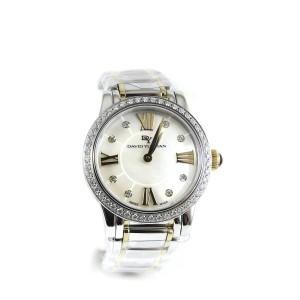 David Yurman Stainless Steel 18K Yellow Gold .73tcw 30mm Quartz White Mother of Pearl Diamond Dial Diamond Bezel Classic Watch