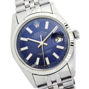 Rolex Mens Datejust Stainless Steel Blue Index 36mm Mens Watch