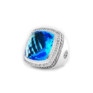 David Yurman Albion Ring with Blue Topaz and Diamonds 20mm