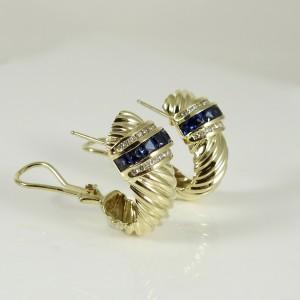 David Yurman Vintage 18K Yellow Gold Sapphire Diamond Earrings
